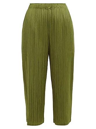 fcd86b871e Pleats Please Issey Miyake Pleated Straight Leg Cropped Trousers - Womens -  Khaki