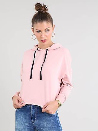 Basics Blusão Feminino Cropped em Moletom com Capuz e Cadarço Rosê