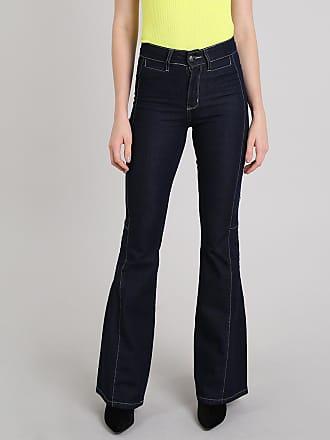 Sawary Calça Jeans Feminina Sawary Flare com Pespontos Azul Escuro