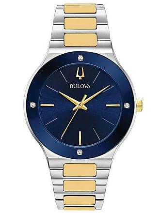 Zales Mens Bulova Futuro Millenia Diamond Accent Two-Tone Watch with Blue Dial (Model: 98E117)