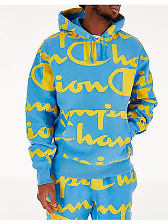 Champion Mens Champion Reverse Weave Allover Print Large Script Hoodie, Yellow/Blue
