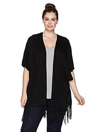 NYDJ Womens Plus Size Sweater WRAP with Fringe, Black, 3X/4X