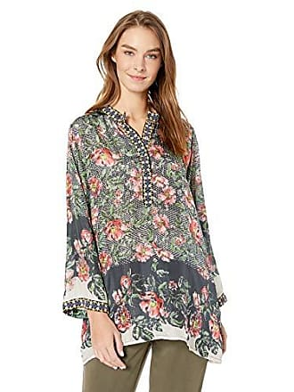 c99c38ef8cd1a3 Johnny Was Womens Printed Silk Tunic with Embroidered Trim