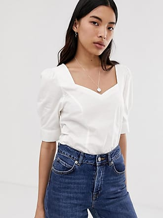 Selected Femme cotton square neck top-White