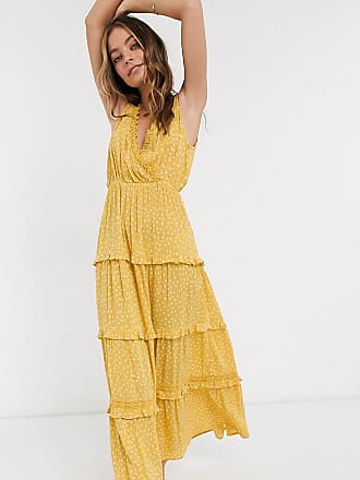 Asos Petite ASOS DESIGN Petite sleeveless tiered crinkle maxi dress with lace inserts in mustard spot-Multi