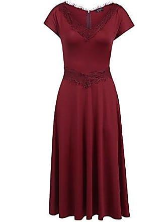 28581f1fe8e169 Parabler Damen Cocktailkleid Abendkleid Spitzenkleid Gepunktetes Jersey  Kleid mit Flügelärmeln v Ausschnitt Knielang A Linie Stretch