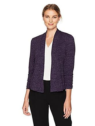Kasper Womens Metallic Stretch Flyaway Jacket, BlackBerry, XS