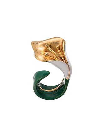 Oscar De La Renta budding flower cuff ring - Green
