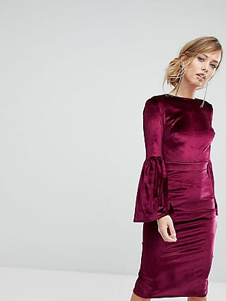 d6ff9b5704 True Violet Velvet Fluted Sleeve Midi Dress With Open Back - Red