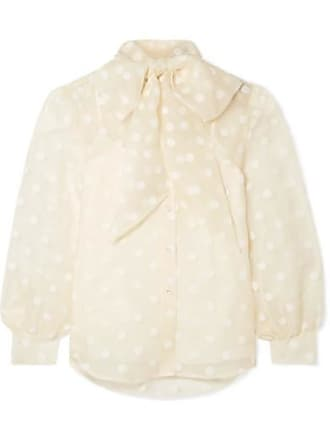 Marc Jacobs Pussy-bow Flocked Silk-organza Blouse - Cream