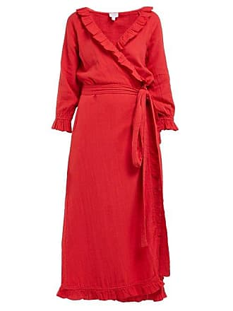 Rhode Resort Rhode - Jagger Ruffled Cotton Gauze Wrap Dress - Womens - Red