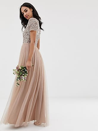 bf63546448c7 Maya Bridesmaid v neck maxi tulle dress with tonal delicate sequins in  taupe blush - Brown