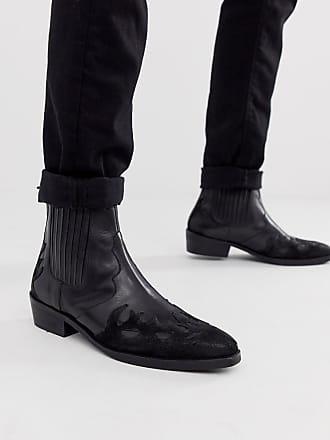 20e5ac3aab7ec2 Asos Chelsea-Stiefel im Westernstil mit Kuba-Absatz aus schwarzem Leder und  Wildleder -