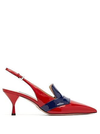 562750f44 Prada Bi Colour Patent Leather Slingback Pumps - Womens - Red Navy