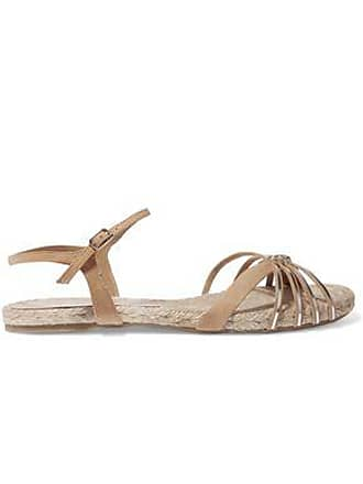 a1f6ffa03 Castaner Castañer Woman Metallic Leather And Suede Sandals Beige Size 38