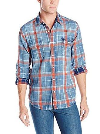 Lucky Brand Mens Axe Indigo 2 Pocket Shirt, Salmon X-Large