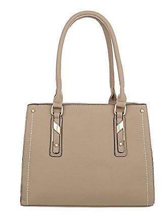 b95c5a5ea1a7de Ital-Design Damen-Tasche Mittelgroße Schultertasche Handtasche Kunstleder  Beige Braun TA-K703