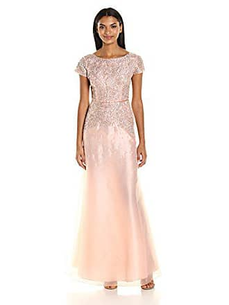 c2e5c69c8b2 Adrianna Papell Womens Scallop Sleeve Beaded Organza Long Gown, Rose Gold,  10
