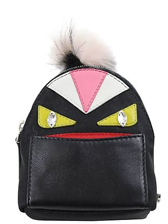 Fendi Black Nylon And Leather Monster Charm Backpack Key Chain 3c1e445e67063