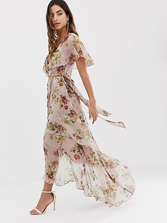 f610d5b23c Asos maxi dress with cape back and dipped hem in light floral print - Multi