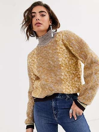 Object fluffy high neck jumper with striped cuffs in animal print-Cream