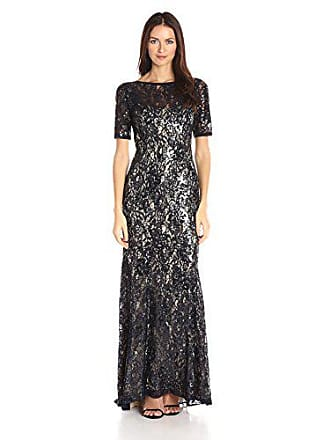 16917ca74d9a Adrianna Papell Womens Short Sleeve Sequin Lace Mermaid Gown, Midnigh/Nude,  2