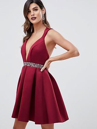1facf8c2cf5e1 Asos mini skater dress with glitz waist detail - Pink