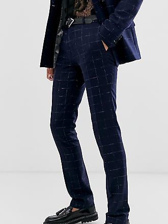 Twisted Tailor Pantaloni da abito super skinny a quadri-Navy