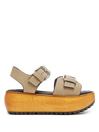 e66c9d67b98d Marni Glitter Covered Leather Slingback Platform Sandals - Womens - Gold