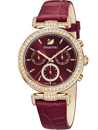 Swarovski Era Journey Watch, Leather strap, Dark Red, Rose gold tone