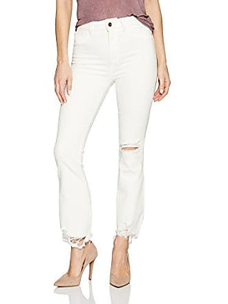 DL1961 Womens Jackie Trimtone Cropped Flare Jeans in Eggshell, 29