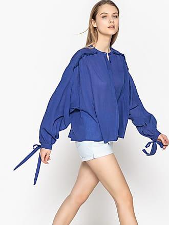 La Redoute Collections Weite Bluse mit bauschigen Ärmeln, reine Baumwolle -  blau - La Redoute 425992b13c