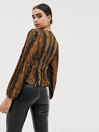 bd80fc7366b50 Asos long sleeve top with balloon sleeve and corset waist in snake print -  Multi