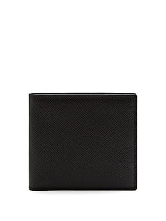 Smythson Panama Bi Fold Leather Wallet - Mens - Black