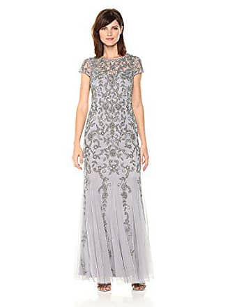 Adrianna Papell Womens Short Sleeve Beaed Gown with Godets, Silver/Grey, 2