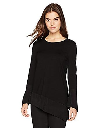 Calvin Klein Womens Angle Bottom Top with Flare Sleeve, Black M