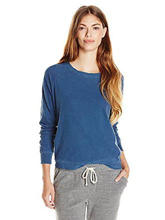 Alternative Womens Slub Slouchy Pullover Top, Mineral Blue, Small