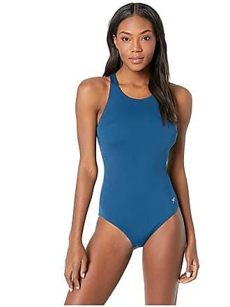 ed3892c2e8 Speedo High Neck Swimsuit (Deep Teal) Womens Swimsuits One Piece