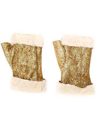 Gala Gloves Luvas de couro com pelo de carneiro - Dourado c93fed509fc0