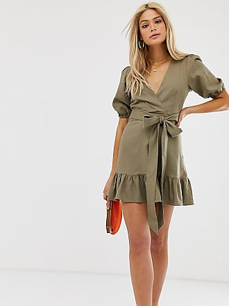 2f68e3ea7f16 Asos Tall ASOS DESIGN Tall wrap mini dress with tie front - Green