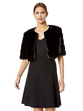 Eliza J Womens Plus Size Faux Fur Shrug Jacket, Black, 1X