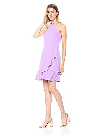 Donna Morgan Womens Crepe Halter Neck Dress, Lavender, 16