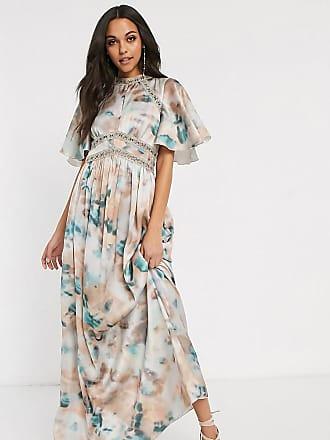 Little Mistress Tall lace insert maxi dress in marble print-Multi