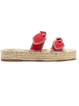 Loeffler Randall Daisy Bow-embellished Canvas Espadrille Slides - Red