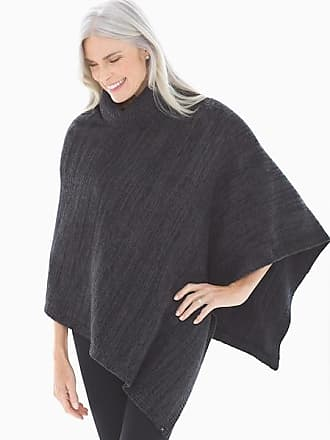 Barefoot Dreams CozyChic Poncho Black And Carbon, Black/Carbon, One Size, from Soma