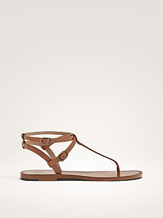 MASSIMO DUTTI BUCKLED TAN FLAT SANDALS