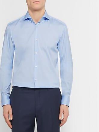 7d8d1141 HUGO BOSS Blue Jason Slim-fit Cutaway-collar Stretch Cotton-blend Shirt -