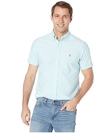 718d93415 Polo Ralph Lauren Short Sleeve Classic Fit Oxford (Aegean Blue) Mens  Clothing