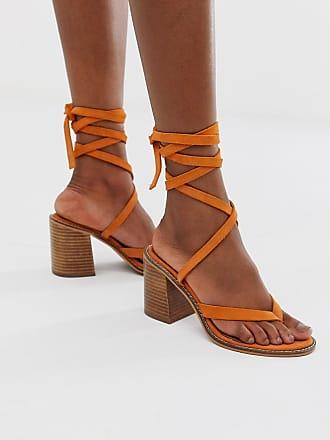 Asos Tropical - Sandali alla caviglia in pelle scamosciata-Arancione