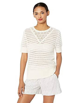 Lucky Brand Womens Short Sleeve Crochet Sweater, Antique White, L